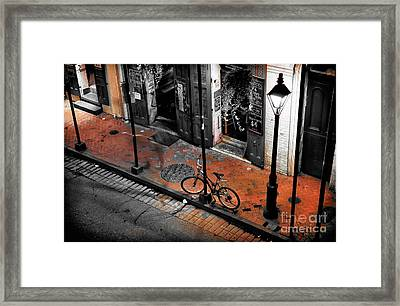 Lonely Bike On Bourbon Fusion Framed Print by John Rizzuto