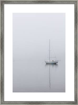 Lonely Boat In The Fog  Framed Print