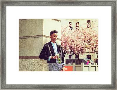 Lonely Boy With White Rose 15042643 Framed Print