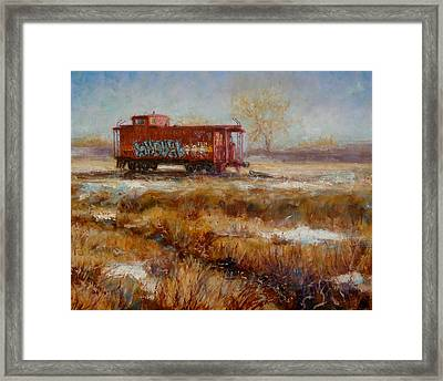 Lonely Caboose Framed Print by Donelli  DiMaria