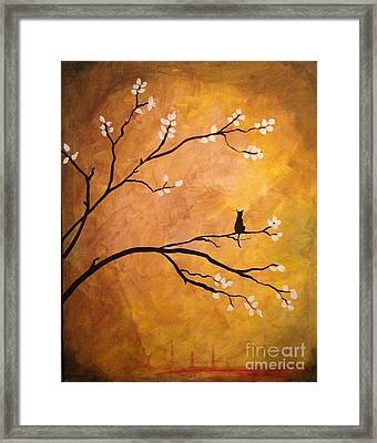 Lonely Cat Feline Silhouette Framed Print by Donna Marshall