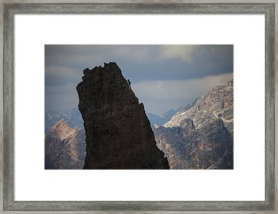 Lonely Climber, Cinque Torri, Dolomites, Italy Framed Print by Frank Peters