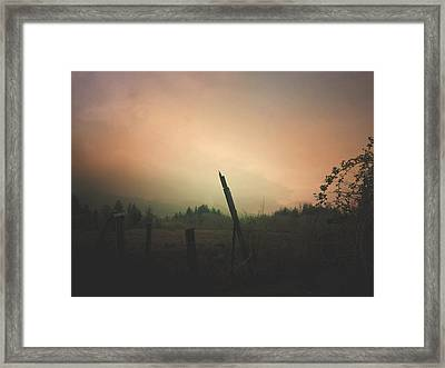 Framed Print featuring the digital art Lonely Fence Post  by Chriss Pagani