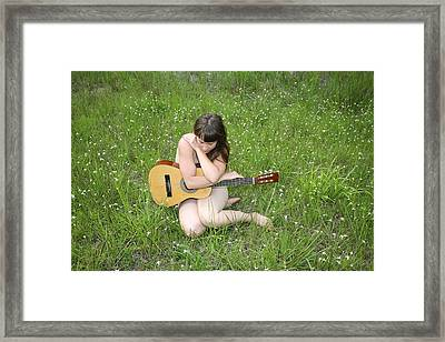 Framed Print featuring the photograph Lonely Guitar by Lucky Cole