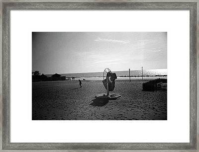 Lonely Man In Ostia Beach Framed Print