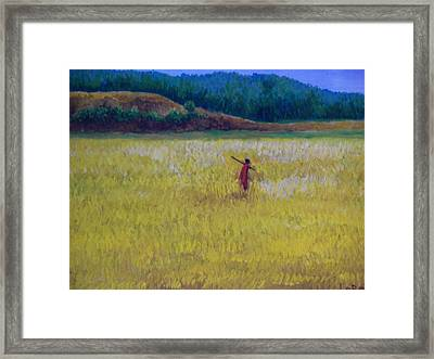 Lonely Masaai Framed Print