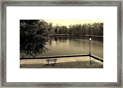 Lonely Park Bench - Sepia Framed Print