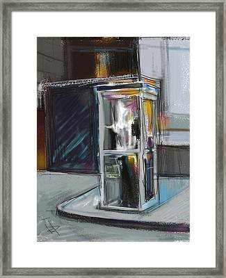Lonely Phone Booth Framed Print by Russell Pierce