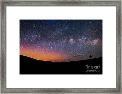 Lonely Road Death Valley Milky Way Galaxy Framed Print by Timothy Kleszczewski