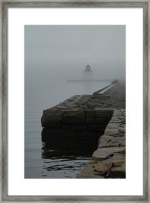 Framed Print featuring the photograph Lonely Salem Lighthouse In Fog by Jeff Folger