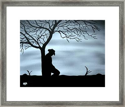 Framed Print featuring the painting Lonesome Cowboy by Edwin Alverio
