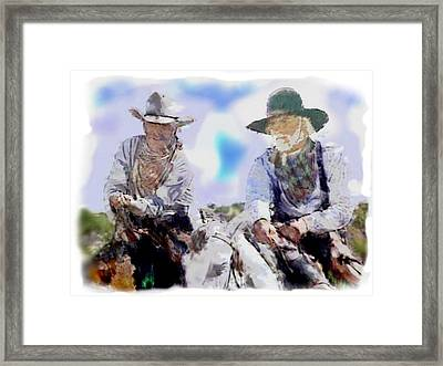 Lonesome Dove Water Color  Gus And Call Framed Print by Peter Nowell