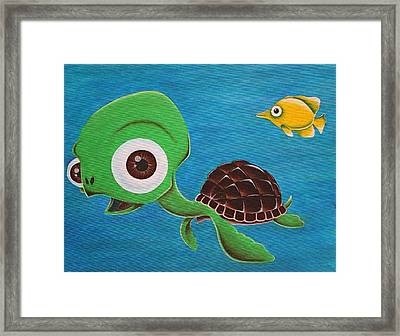 Lonesome Fish And Friendly Turtle Framed Print by Landon Clary