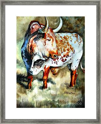 Framed Print featuring the painting Lonesome Longhorn by Karen Kennedy Chatham