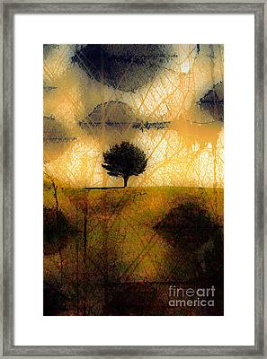 Lone Tree On A Hill Abstract In Autumn Framed Print by Linda Matlow
