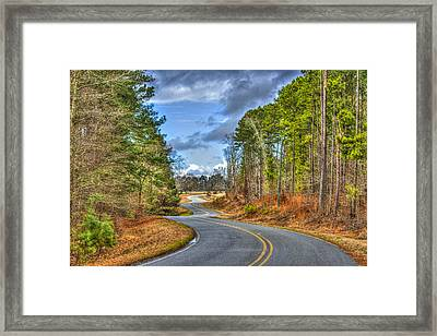 Long And Winding Gray Horse Road Framed Print