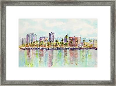 Long Beach Coastline Reflections Framed Print