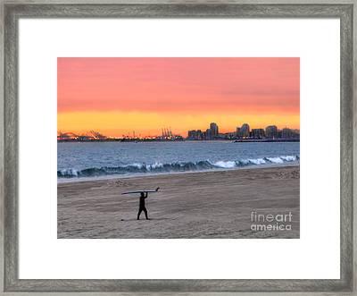 Long Beach From Huntington Beac Framed Print