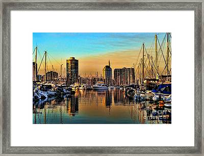 Framed Print featuring the photograph Long Beach Harbor by Mariola Bitner
