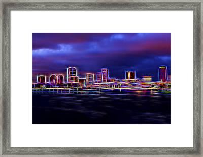 Long Beach Neon Framed Print by Kelley King