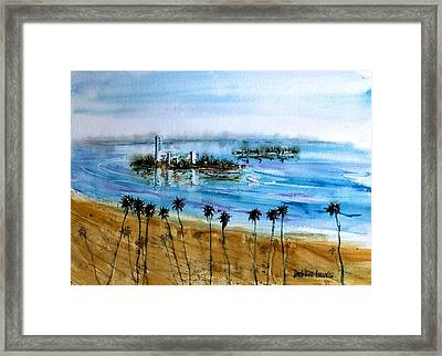 Long Beach Oil Islands Before Sunset Framed Print by Debbie Lewis
