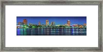 Long Beach Skyline Cityscape Panorama Framed Print by David Zanzinger