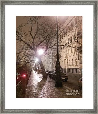 Long Cobblestone Street Of Prague Framed Print