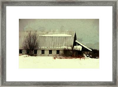 Framed Print featuring the photograph Long Cold Winter - Winter Barn by Janine Riley