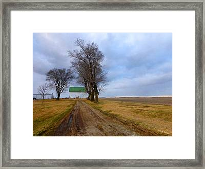 Long Driveway To The Green Roof Barn Framed Print