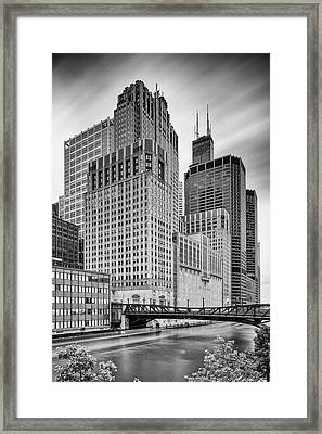 Long Exposure Image Of Chicago River Civic Opera House And Top Of The Willis Tower - Illinois Framed Print by Silvio Ligutti