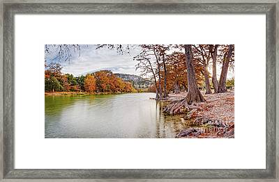 Long Exposure Panorama Of The Frio River And Old Baldy At Garner State Park - Texas Hill Country Framed Print by Silvio Ligutti