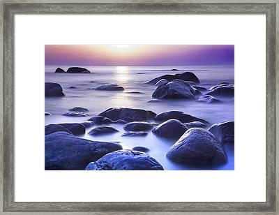 Long Exposure Sea And Rocks In Estonia Baltic Sea Framed Print