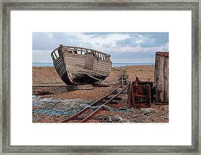 Long Forgotten -  Rusty Winch And Old Fishing Boat Framed Print by Gill Billington