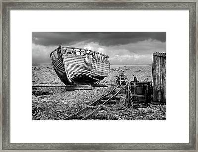 Long Forgotten - Rusty Winch And Old Fishing Boat In Black And White Framed Print by Gill Billington