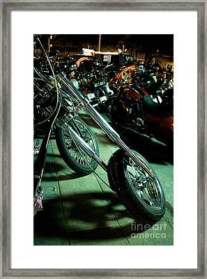 Long Front Fork And Wheel Of Chopper Bike At Night Framed Print