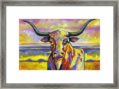 Long Horn At Sunset Framed Print