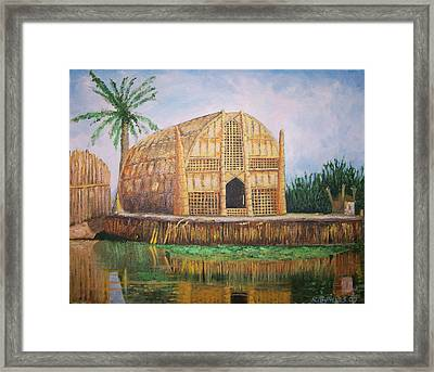 Long Hut Of The Marsh Arabs Framed Print by Ron Bowles