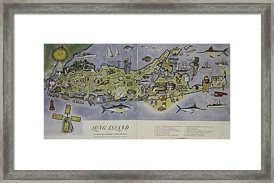 Framed Print featuring the photograph Long Island An Interpretive Cartograph by Duncan Pearson