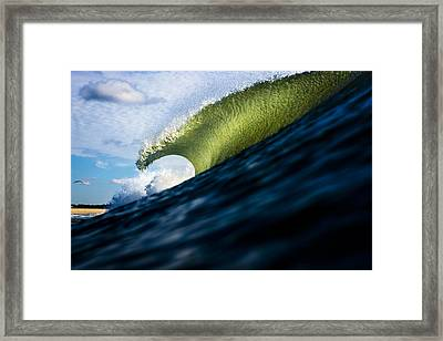 Long Island Blue Sky Green Wave Framed Print