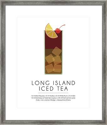 Long Island Iced Tea Classic Cocktail - Minimalist Print Framed Print