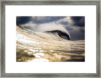 Long Island Wild Weather Wave Framed Print by Ryan Moore