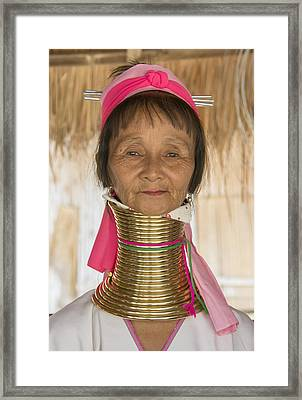 Framed Print featuring the photograph Long Necked Karen Woman by Wade Aiken