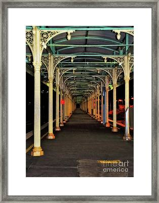 Framed Print featuring the photograph Long Platform Albury Station By Kaye Menner by Kaye Menner