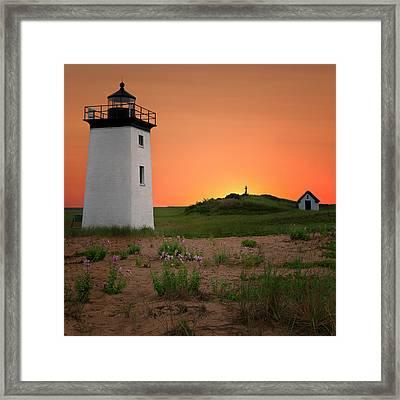 Long Point Light Sunset Framed Print
