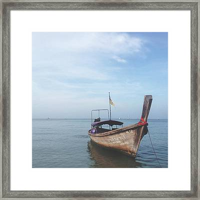 Framed Print featuring the photograph Long Tail Boat Stillness by Ivy Ho