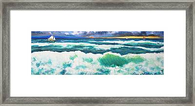Long Thin Wave Framed Print by Anne Marie Brown