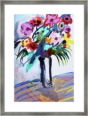 Long Vase Of Red Flowers Framed Print