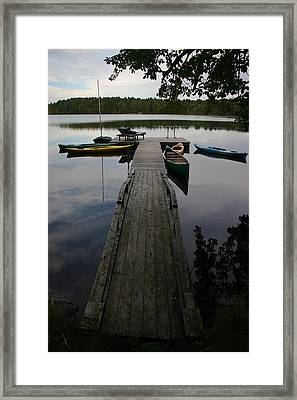Long Walk On Dock Framed Print by Dennis Curry