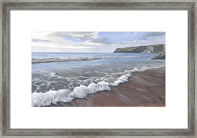 Framed Print featuring the painting Long Waves At Trebarwith by Lawrence Dyer