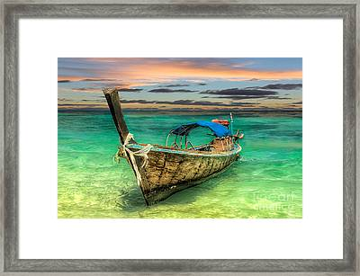 Longboat Sunset Framed Print by Adrian Evans